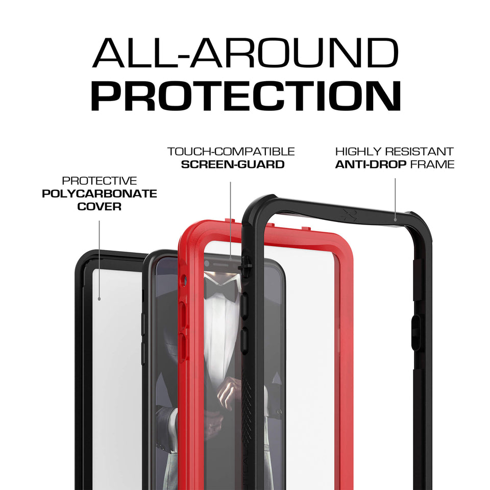 iPhone XS Max Red Waterproof Case
