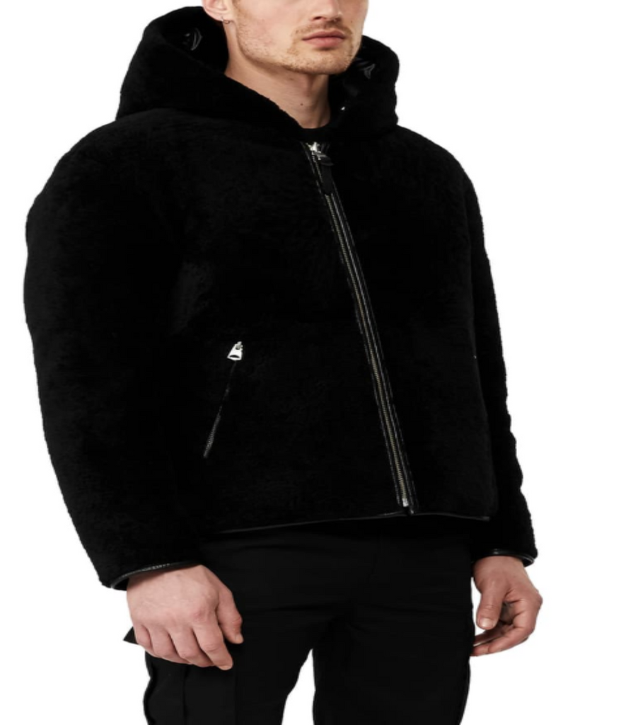 Shearling Down Leather Coat