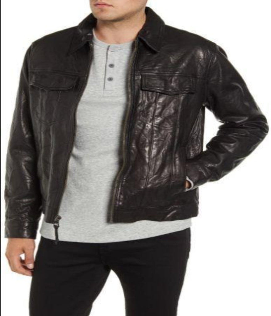 Classic Fit Leather Trucker Jacket
