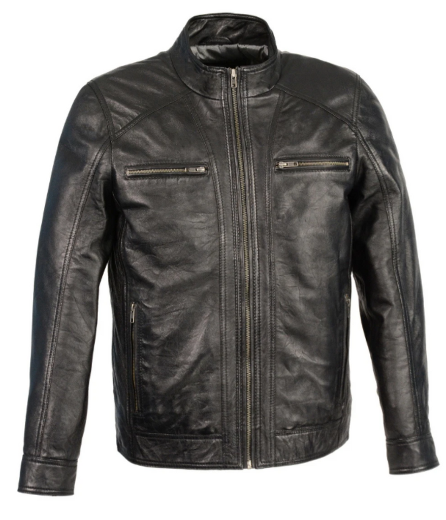 Leather Jacket with Front Zipper