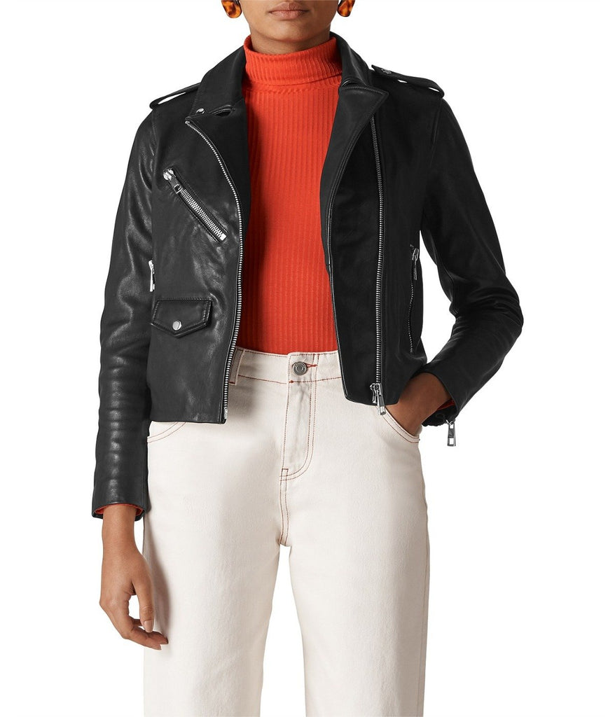 POCKET LEATHER BIKER JACKET