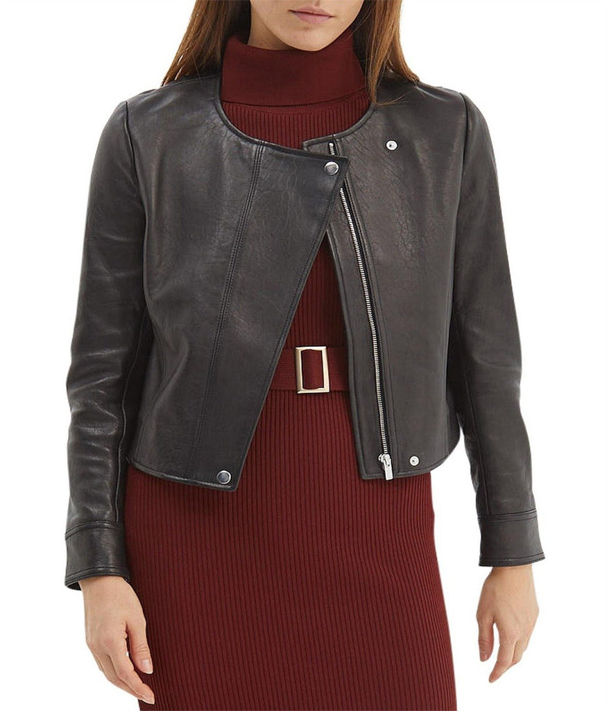 LILIA LEATHER CROPPED JACKET