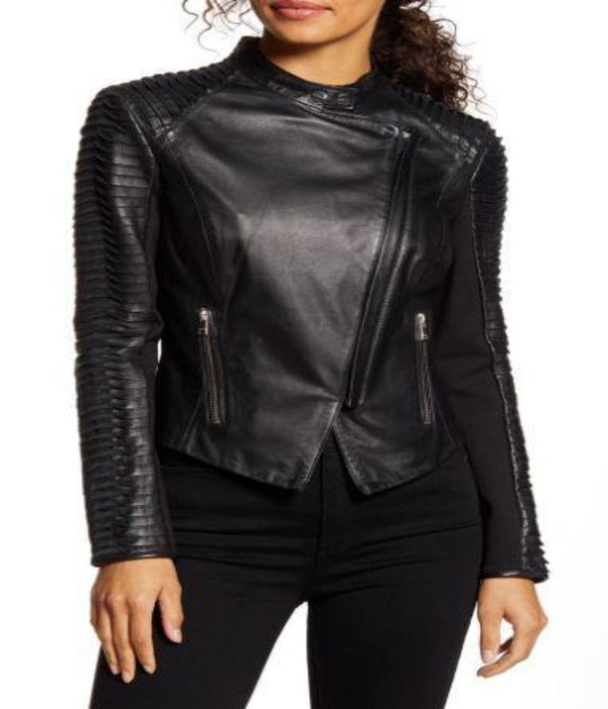 Sleeve Leather Moto Jacket