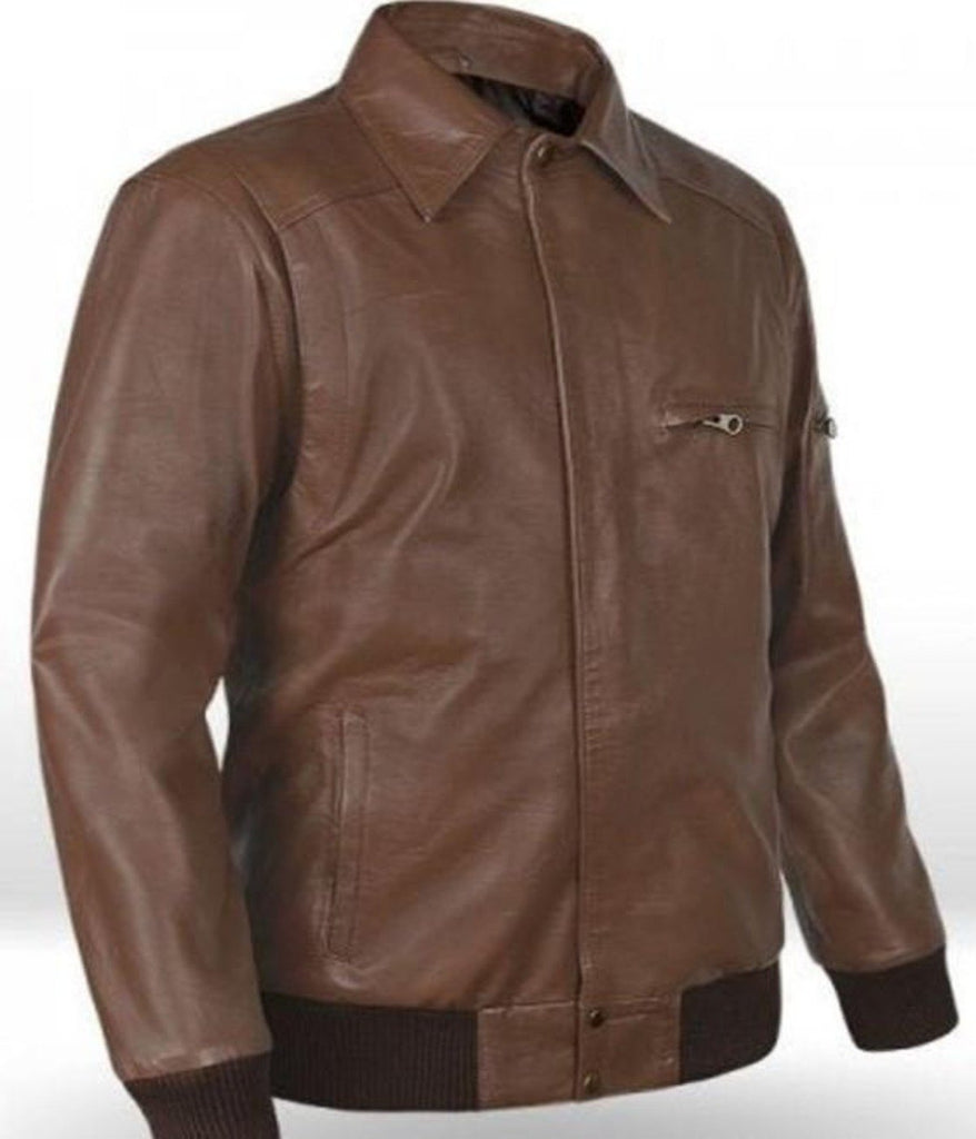 Leather brown jacket