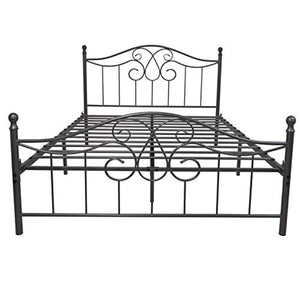 Silver Metal Bed Frame Queen Size with Vintage Headboard and Footboard Platform Base