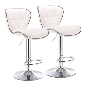 Open image in slideshow, Adjustable Leather Swivel Bar Chairs (Set of 2)