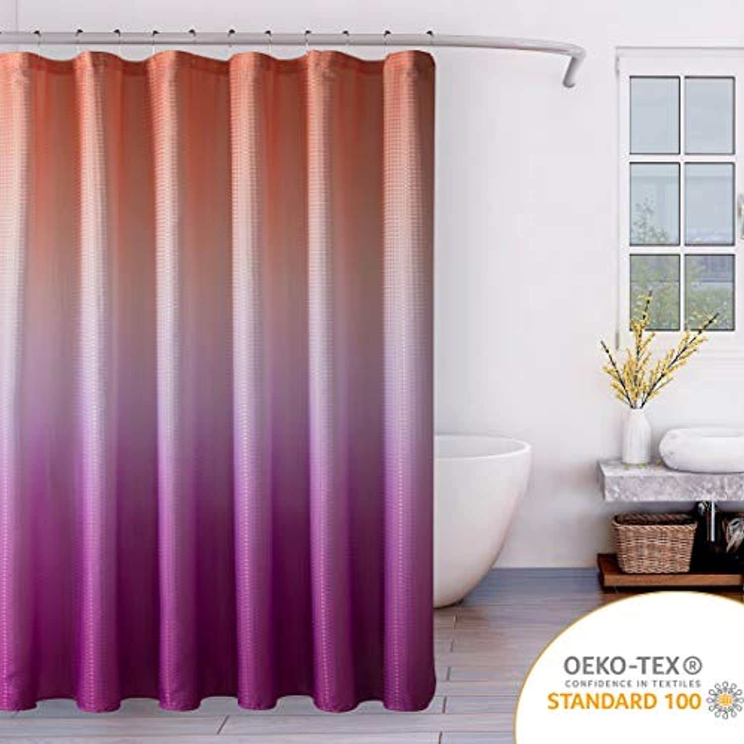 Ombre Textured Fabric Shower Curtain