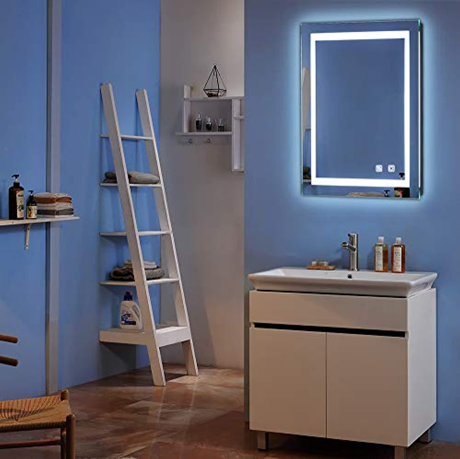 LED Lighted Wall Mounted Mirror with Touch Button