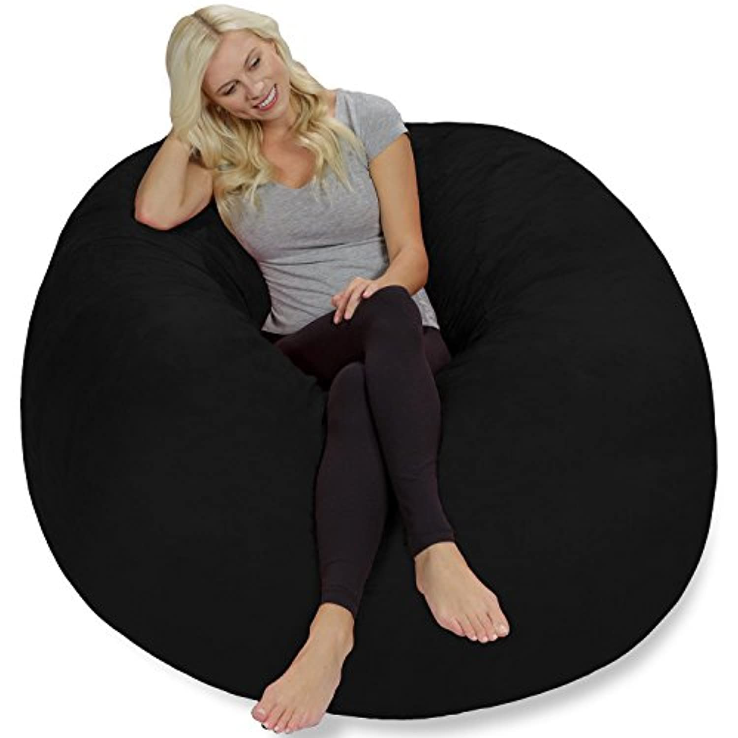 Giant 5' Memory Foam Furniture Bean Bag - Big Sofa with Soft Micro Fiber Cover - Black