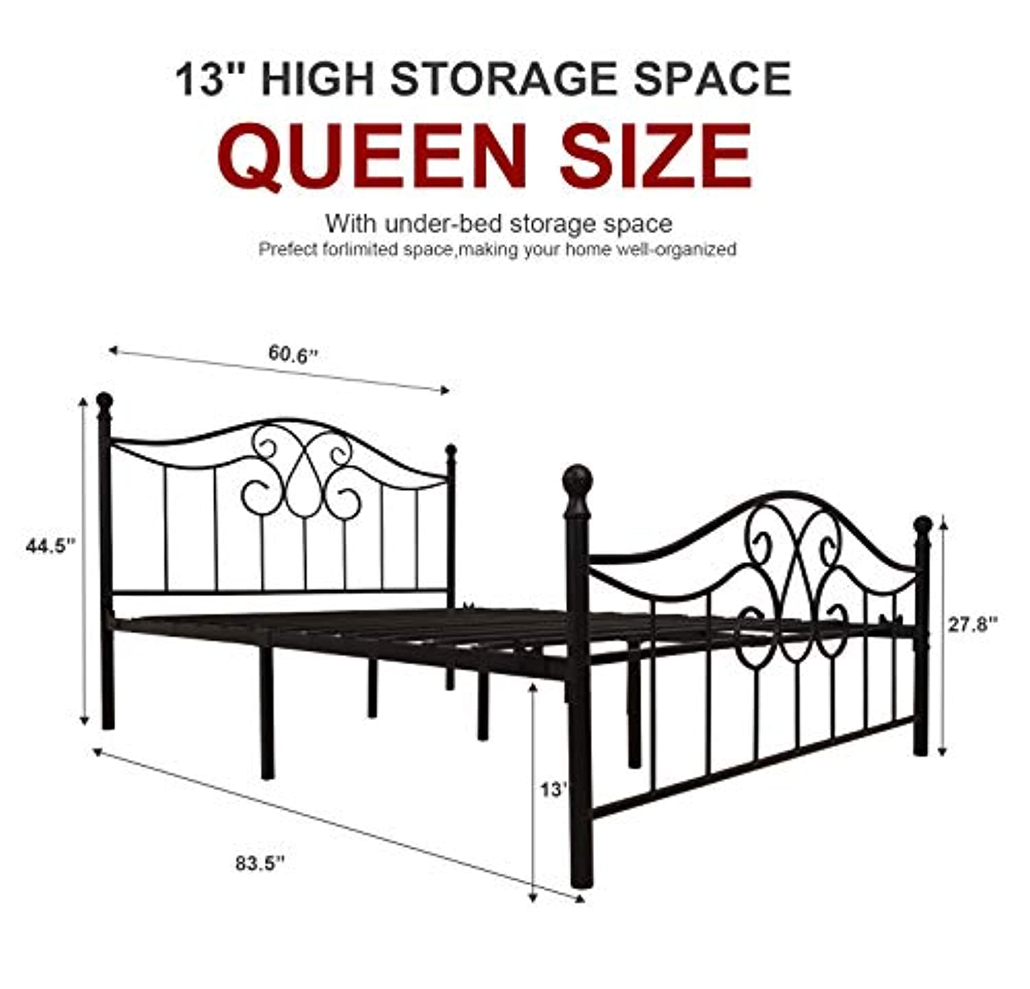 Black Metal Bed Frame Queen Size with Vintage Headboard and Footboard Platform Base