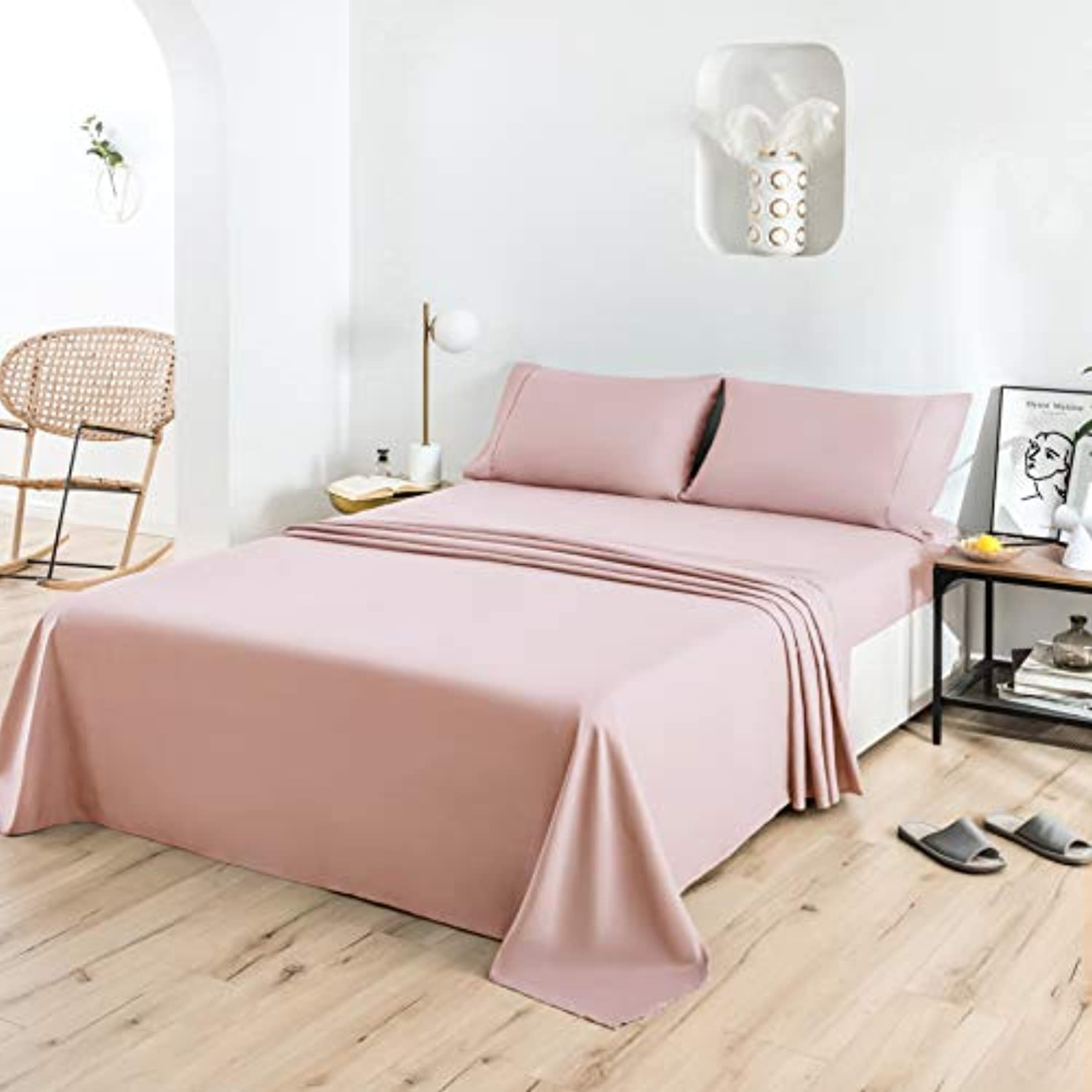 Pink Sheet Set 4 Pieces Brushed Microfiber Luxury with Soft Bedding Fade and Stain Resistant Queen