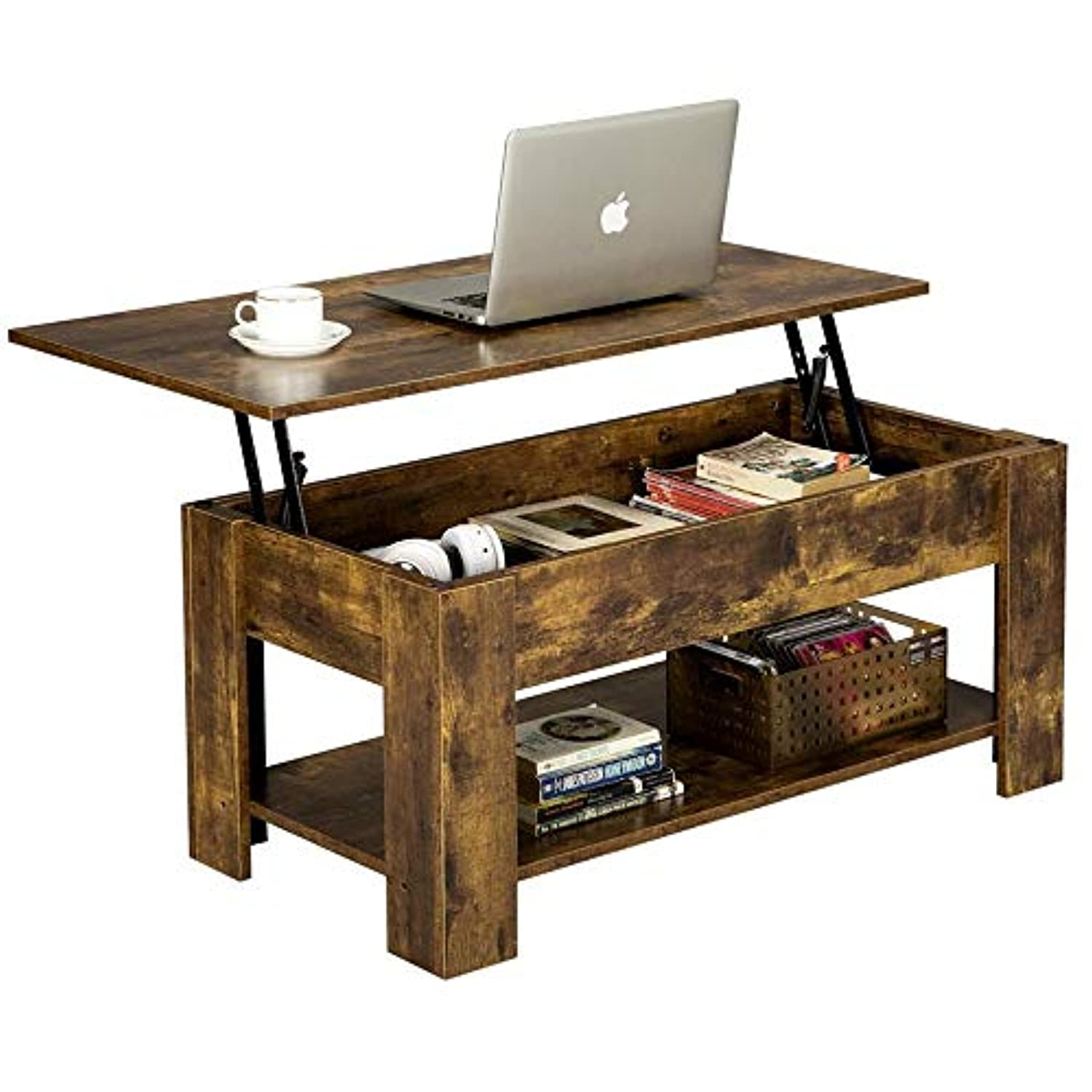 Rustic Lift Top Coffee Table + Compartment & Storage Space