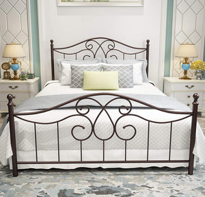 Open image in slideshow, Silver Metal Bed Frame Queen Size with Vintage Headboard and Footboard Platform Base