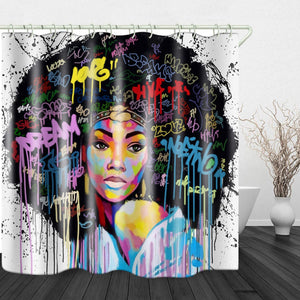 Open image in slideshow, American Black Girl Print Waterproof Fabric Shower Curtain