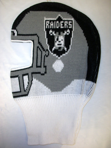 dcfcdb004 Oakland Raiders Vintage NFL Game Face Knit Ski Mask Hat Tecmo Bowl ...