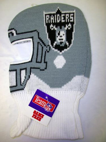 vtg Oakland Raiders NFL 90s Game Face Knit Ski Mask Helmet Hat Cap Tecmo Bowl