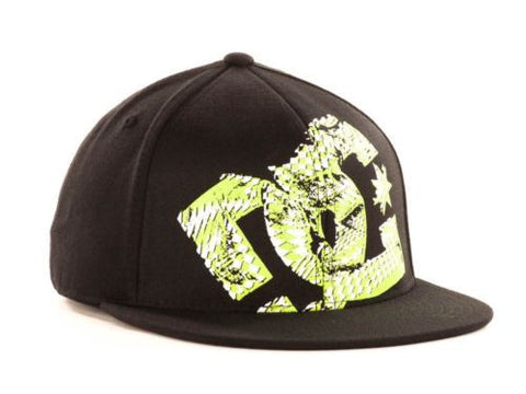 DC Shoes Shoe Black Green GIL Flex Hat Cap NWT Large - XLarge 7 1/4 - 7 5/8