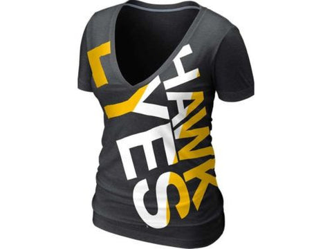 Iowa Hawkeyes Nike NCAA Womens Deep V Blended T-Shirt NWT $28
