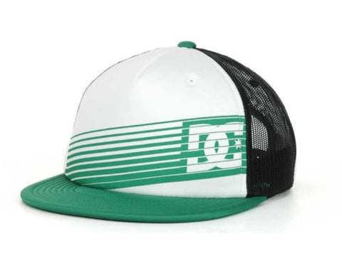 DC Shoes Shoe Tear Trucker Green Black Flatbill Snapback Retro Hat Cap NWT