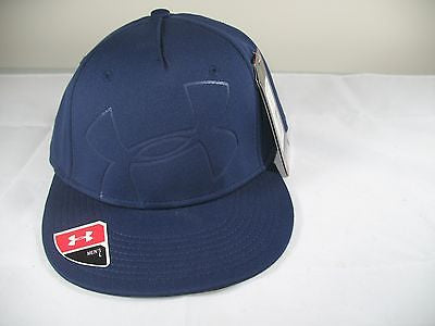 Under Armour Shadow Cap L Midnight Blue Flatbill Hat Flex Stretch L NWT $32
