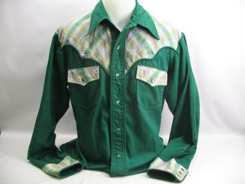 vtg Rare 60s Green Plaid Western Shirt L/S Pearl Snap Button XL