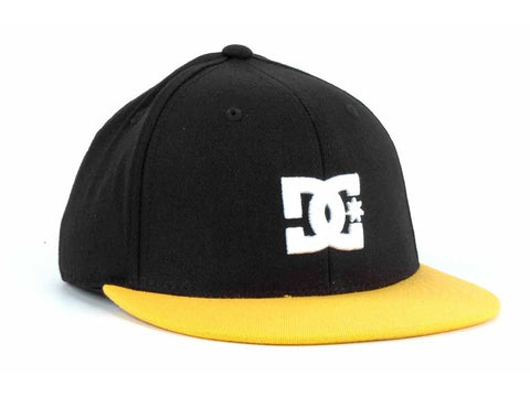 DC Shoes Bassed 210 Flex Hat Cap Flatbill Small / Medium Black Yellow NWT