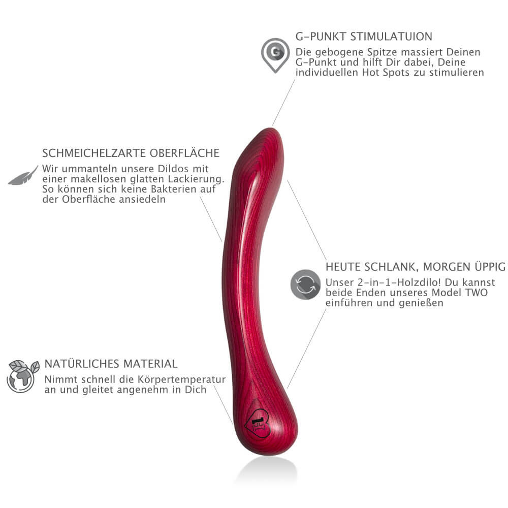 LUSTHOIZ MODEL TWEE G-spot houten dildo - Mrs. Red