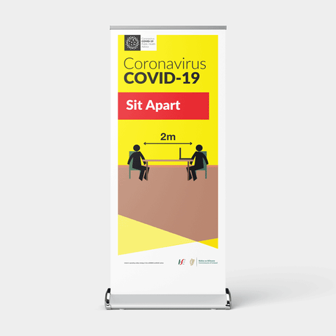 'Sit Apart' Pull-Up Banner for Cafés, Restaurants, Offices