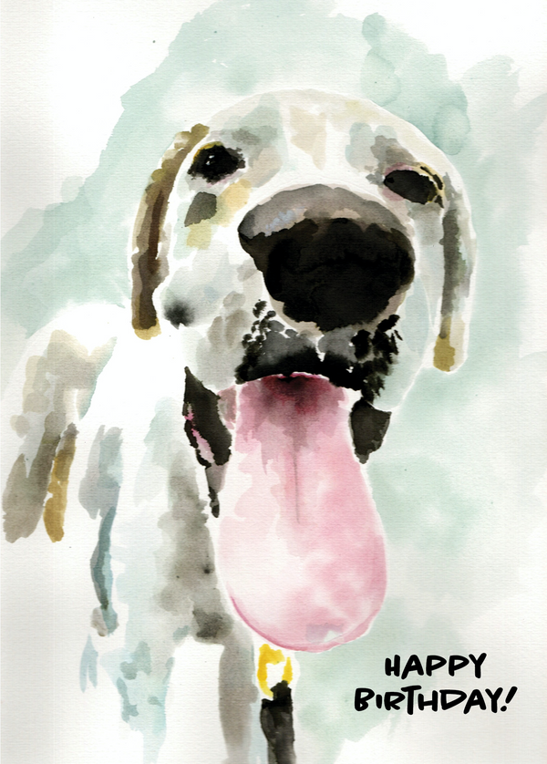Happy Birthday Watercolor Happy Dog
