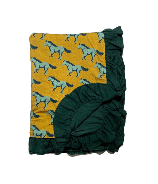 Ruffle Blanket (Teal Mustangs)