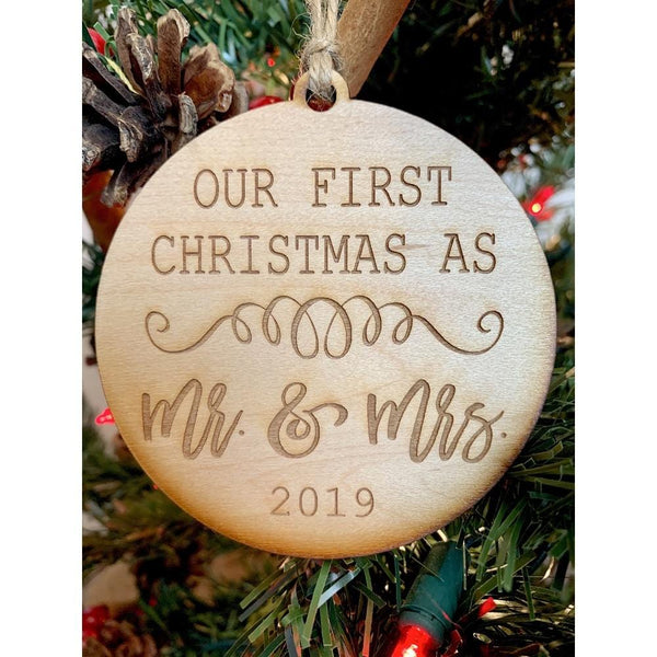 CLEARANCE! Rustic Cottage 1st Christmas Mr. & Mrs. Ornament - Handcrafted