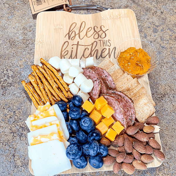 """Bless This Kitchen"" Bamboo Cutting / Charcuterie Board"