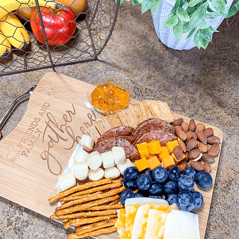 """Friends & Family Gather Here"" Bamboo Cutting / Charcuterie Board"