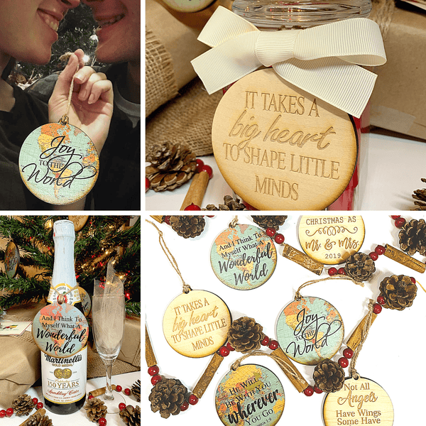 Rustic Cottage Holiday Ornaments - Handcrafted USA