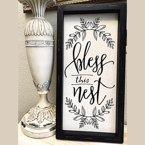 NEW!!! Bless This Nest Distressed Rustic Wood Framed Art
