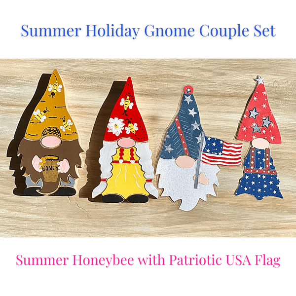 Summer Holiday Gnome Couple Handcrafted USA