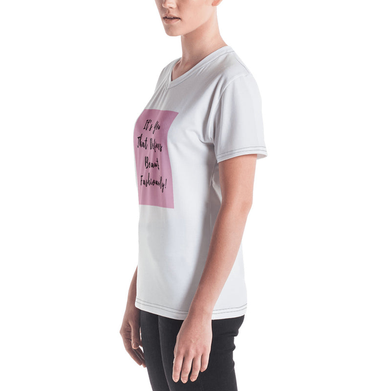 "Women's V-neck Shirt Print ""It's You That Defines Beauty Fashionably!"" - Jance Samantha Beauty & Fashion"