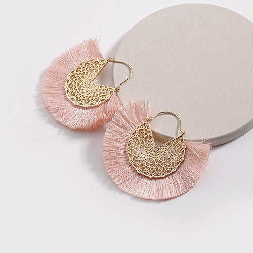 Boho New Fan-shaped Tassel Earrings  Vintage Ethnic Metal Hollow Statement - Jance Samantha Beauty & Fashion