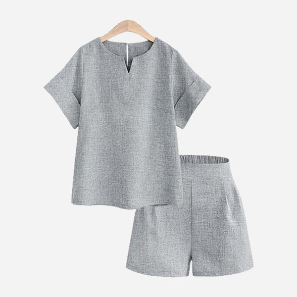 Casual Top + Short  Suit Set - Jance Samantha Beauty & Fashion