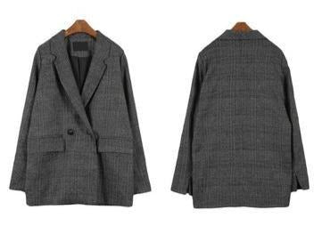 Casual Vintage Plaid  Blazer - Jance Samantha Beauty & Fashion