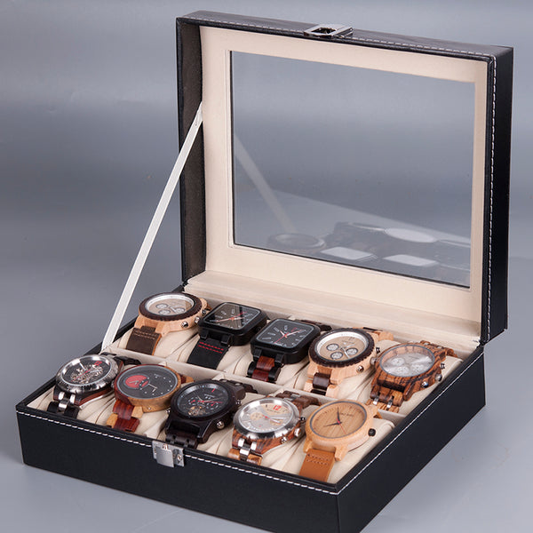 Leatherette Wrist Watch Display Box Organizer - Jance Samantha Beauty & Fashion