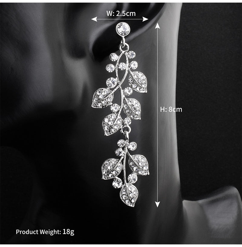 Fashion Austrian Crystal Alloy Bridal Long Earrings - Jance Samantha Beauty & Fashion