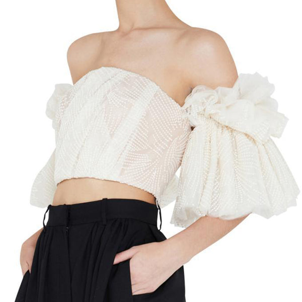 Off Shoulder Embroidery Ruffles Flare Sleeve Sexy Short Tops - Jance Samantha Beauty & Fashion