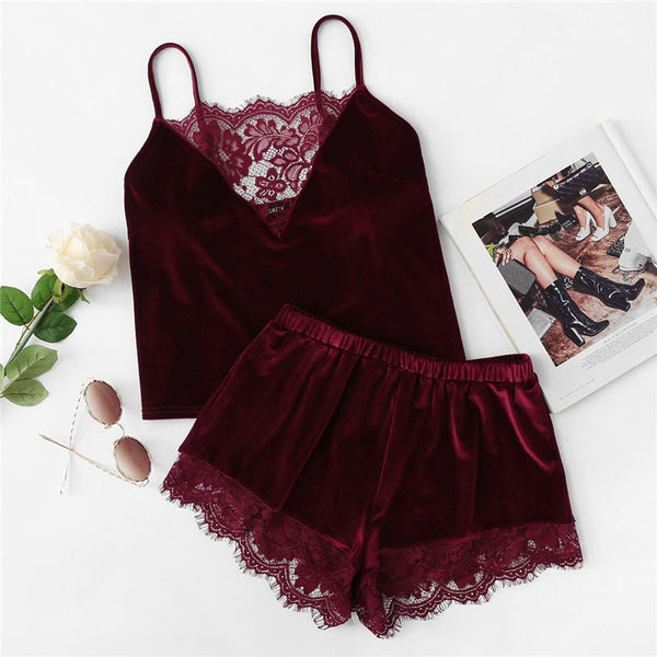 Lace Trim Velvet Cami Shorts Pajamas Set - Jance Samantha Beauty & Fashion