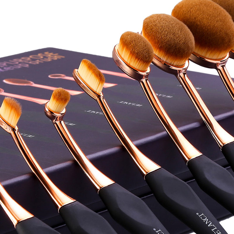Oval Makeup Brush Set - Jance Samantha Beauty & Fashion
