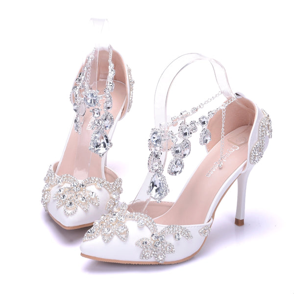 Bridal Crystal Rhinestone Pointed Toe High Heels - Jance Samantha Beauty & Fashion