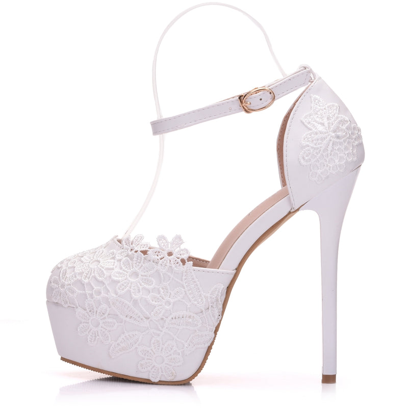 Flower Lace Hollow High Heels Baotou Wedding Shoes - Jance Samantha Beauty & Fashion