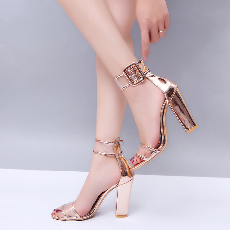 Fashion Transparent Super High Square Heel - Jance Samantha Beauty & Fashion