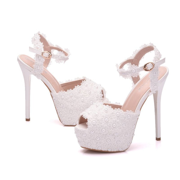 Women's Fashion Lace High Heels - Jance Samantha Beauty & Fashion