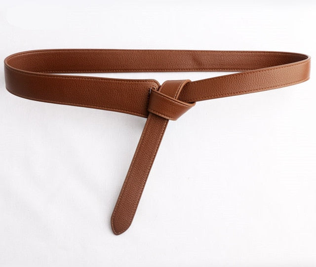 Knotted Simple Waistband Long Wide Belt - Jance Samantha Beauty & Fashion